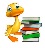 Fun Duck cartoon character with book stack Stock Images