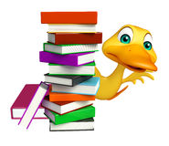 Fun Duck cartoon character with book stack Stock Image