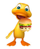 Fun Duck cartoon character with burger Stock Photography
