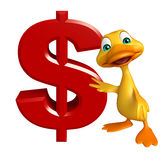 Fun Duck cartoon character with doller sign Stock Photo