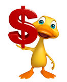 Fun Duck cartoon character with doller sign Royalty Free Stock Photo