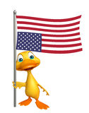 Fun Duck cartoon character with flag. 3d rendered illustration of Duck cartoon character with flag Royalty Free Stock Image