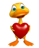 Fun Duck cartoon character with heart Stock Images