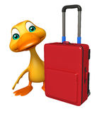 Fun Duck cartoon character with travel bag Stock Photography