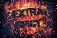 Fun dynamic fiery poster for - Extra Spicy - food. With black text surrounded by orange flames and explosive sparks on a dark background Stock Image