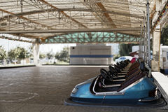 Fun. Electric racing cars in a amusement park Royalty Free Stock Photos