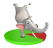 Fun Elephant cartoon character with circle sign. 3d rendered illustration of Elephant cartoon character with circle sign Stock Photos