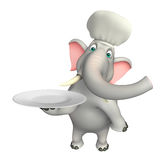 Fun  Elephant cartoon character with dinner plate and chef hat Royalty Free Stock Photography