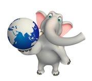 Fun  Elephant cartoon character with earth Stock Photography
