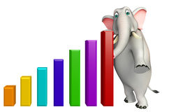 Fun Elephant cartoon character with graph Royalty Free Stock Photo