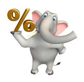 Fun  Elephant cartoon character with percentage sign. 3d rendered illustration of Elephant cartoon character with percentage sign Royalty Free Stock Photos