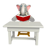 Fun  Elephant cartoon character  with  table and chair Stock Images