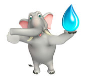 Fun  Elephant cartoon character with water drop Stock Photo