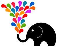 Fun elephant. Having a colorful splash Royalty Free Stock Photos