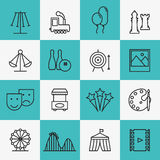 Fun and entertainment icons. Movie and cinema, game and leisure, vector illustration Stock Image