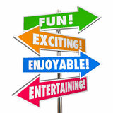 Fun Exciting Entertaining Enjoyable Signs Words Stock Image