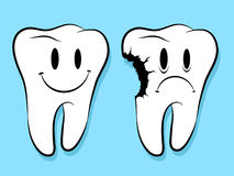 Fun Faces On Healthy And Decayed Teeth caries Royalty Free Stock Photos