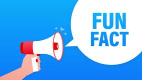 Fun fact feedback megaphone blue banner in 3D style. Motion graphics.