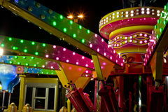 Fun fair atraction. Empty fun fair atraction at night. Detail shot Royalty Free Stock Images