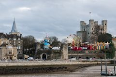 Fun fair attractions in front of Rochester Castle at the 2018 Rochester Christmas festival stock photos