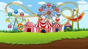 Fun fair background scene. Illustration stock illustration