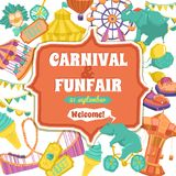 Fun Fair And Carnival Poster. Fun fair traveling circus and carnival promo poster vector illustration Stock Photos