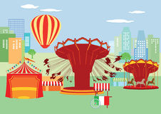 Fun fair in city. Illustration of fun fair rides with urban skyline in background vector illustration