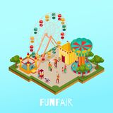 Fun Fair Isometric Illustration. Fun fair with visitors circus performance and attractions on blue background isometric vector illustration stock illustration
