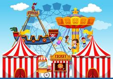 Fun fair ride background royalty free illustration