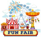 A Fun Fair and Rides. Illustration Royalty Free Stock Images