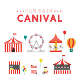 Fun fair, vector icons and background and illustration Stock Photography