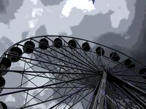 Fun at the fairground. Grey overcast day at the fairground funfair wheel ferris Royalty Free Stock Photo