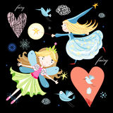 Fun fairy and birds Stock Photo