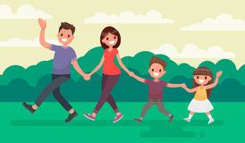 Fun family walking in the park. Rest at nature. Vector illustrat Royalty Free Stock Photo