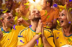 Fun Fans in stadium arena. Fun soccer Fans in stadium arena Confetti and tinsel royalty free stock photo