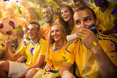 Fun Fans in stadium arena. Fun soccer Fans in stadium arena Confetti and tinsel royalty free stock image