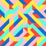 Fun Fashion Geometric Pop Art 1980 Style Pattern Royalty Free Stock Photo