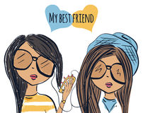 Fun fashionable girl friend. Fashion girls. Best friends listen to music. Vector Royalty Free Stock Image