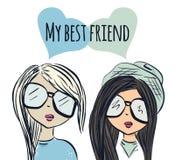 Fun fashionable girl friend. Fashion girls. Best friends. Vector Stock Photography