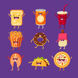 Fun fast food. Dishes with cute faces, happy Stock Photo