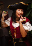 Fun Female Pirate Scene Stock Photo