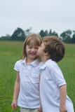 Fun in the field. Boy girl twins out in the field Stock Images