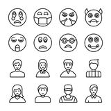 Emojis and Avatars Line Icons stock illustration