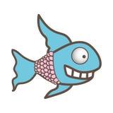 Fun fish carucature icon. Illustration design Stock Photos