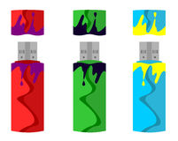 Fun Flash Drives. Funky flash drives in different colours Stock Images