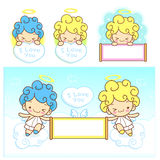 The fun a fleecy clouds on Girls and boys Angel Mascot. Angel Ch Royalty Free Stock Photo