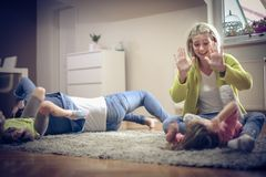 Fun on floor. royalty free stock images