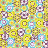 Fun Flowers. Summer Fun Vector Seamless Background with Flowers Stock Images