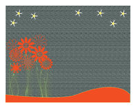 Landscape and starry sky illustration. An abstract illustration of a landscape with flowers and a starry sky Stock Photography