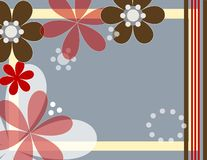 Fun flowers. Illustrated flowers and shapes on gray background Royalty Free Stock Photography